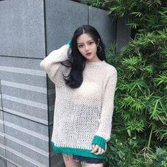 Melone - Contrast Trim Open Knit Sweater