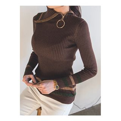 migunstyle - Zip-Detail Contrast-Trim Knit Top