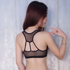 Croix - Lace Panel Cutout Bra