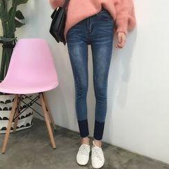 YUKISHU - Two-Tone Skinny Jeans
