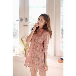CHERRYKOKO - Elbow-Sleeve Lace Mini Shift Dress