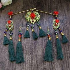 constello - Set of 5: Tasseled Hair Pin + Earrings