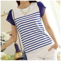 Zyote - Stripe Panel Short-Sleeve T-shirt
