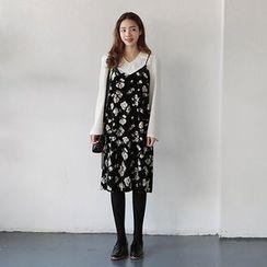 Seoul Fashion - Sleeveless Floral Chiffon Dress