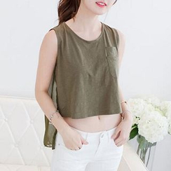 Fashion Street - Dip-Back Sleeveless Crop Top