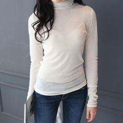 DANI LOVE - Turtle-Neck Sheer Top