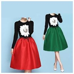 Strawberry Flower - Set: Sequined Knit Top + A-Line Skirt with Belt