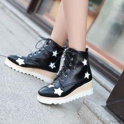 錦洋鞋業 - 厚底船跟星星短靴