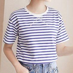 Adima - 條紋短袖T恤