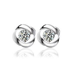 BELEC - 925 Sterling Silver Stud Earrings with White Cubic Zircon