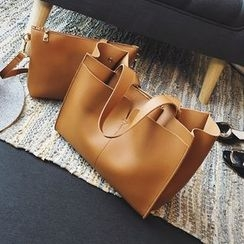 Nautilus Bags - Plain Faux Leather Shopper Bag