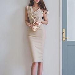 Dimanche - 蝴蝶結V領塑身連衣中裙
