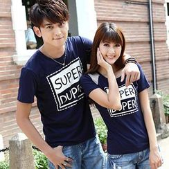Igsoo - Couple Lettering T-Shirt