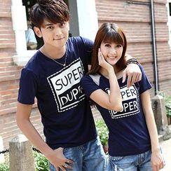 Igsoo - 情侶字母 T 恤