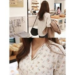 hellopeco - Pocket-Front Floral-Patterned Blouse
