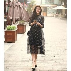 VIZZI - Set: Floral Print Elbow Sleeve Chiffon Midi Dress + Slipdress