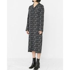 Someday, if - Flower Patterned Long Shirtdress with Sash