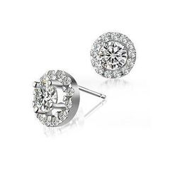 BELEC - White Gold Plated 925 Sterling Silver with White Cubic Zirconia Stud Earrings