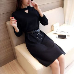 Shomez - Long-Sleeve Cut Out Knit Dress