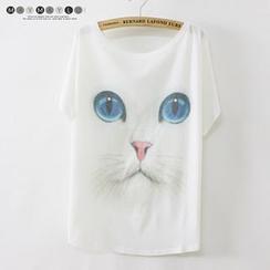 Maymaylu Dreams - Cat Print Crewneck T-Shirt