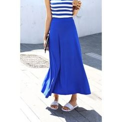 migunstyle - Band-Waist A-Line Maxi Skirt