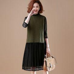SUMU - Set : Plain Vest + Fleece Dress