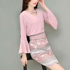 Rosehedge - Set: Bell-Sleeve Top + Patterned Pencil Skirt