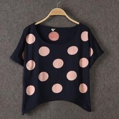 JVL - Short-Sleeve Polka Dot Cropped T-Shirt