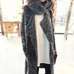 NANING9 - Open-Front Knit Coat with Scarf