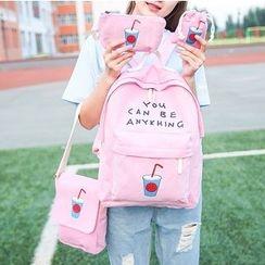 Youme - 四件套裝: 印花背包 + 斜挎包+ 化妝包  + 抽繩包