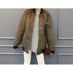 DANI LOVE - Faux-Suede Zip-Up Jacket