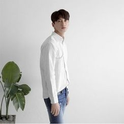 Seoul Homme - Long-Sleeve Pinstriped Shirt