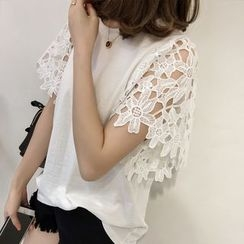 Little V - Crochet Lace Short-Sleeve T-Shirt