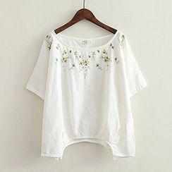 ninna nanna - Embroidered Short-Sleeve Top