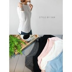 STYLEBYYAM - Round-Neck Asymmetric-Hem T-Shirt