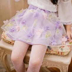Candy Rain - Kids Sheer Panel Floral Skirt