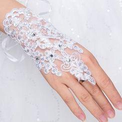 Sky n Sea - Embellished Lace Wedding Gloves