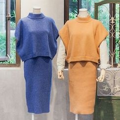 Usado - Set: Short-Sleeve Knit Top + Midi Skirt