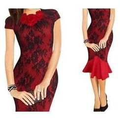 Forest Of Darama - Corsage Cap-Sleeve Lace Sheath Dress
