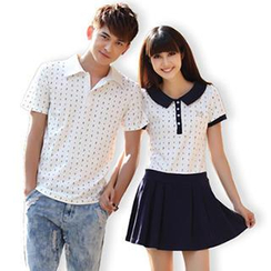 Igsoo - Print Couple Short-Sleeve Polo Shirt / Polo Dress