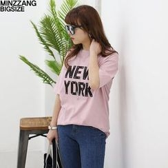 Seoul Fashion - 'NEW YORK' Print Elbow-Sleeve T-Shirt
