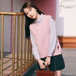 West Coast - 套装: 针织马甲 + 纯色衬衫