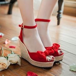 Sidewalk - Bow Wedge Sandals