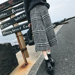 Deerie - Plaid Cropped Wide-Leg Pants