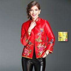 Y:Q - Stand Collar Embroidered Jacket