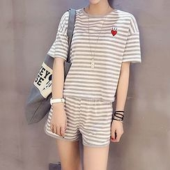 Cloud Nine - Set : Stripe Short-Sleeve T-shirt + Shorts
