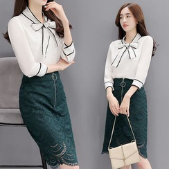 Sienne - Set: Piped 3/4-Sleeve Tie Neck Blouse + Lace Pencil Skirt