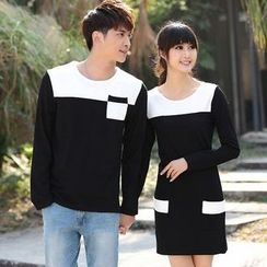 Lovebirds - Couple Color-Block Pullover / Color-Block Sheath Dress