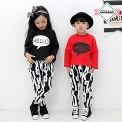nanakids - Kids Set: Lettering Brushed-Fleece Lined T-Shirt + Pants