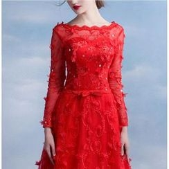 MSSBridal - Long-Sleeve Lace Embroidered Evening Gown